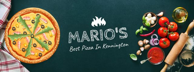 Various pizzas with cooking ingredients Facebook Video cover – шаблон для дизайна