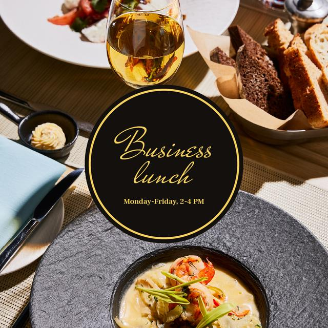 Modèle de visuel Business lunch Ad with cream soup in plate - Instagram