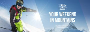 Winter Tour Offer Man Skiing in Mountains | Tumblr Banner Template