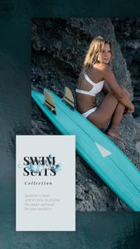 Swimwear Ad Woman in Bikini with Surfboard | Vertical Video Template