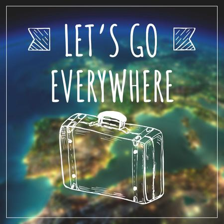 Template di design Motivational Travel Quote with Suitcase illustration Instagram