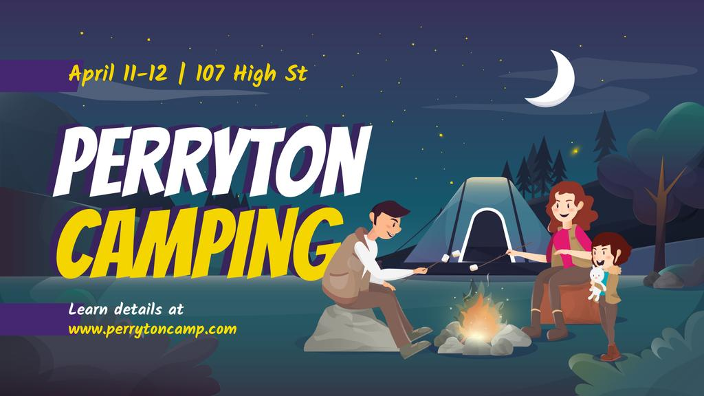 Camping Tour Ad Family by Night Fire — Crear un diseño