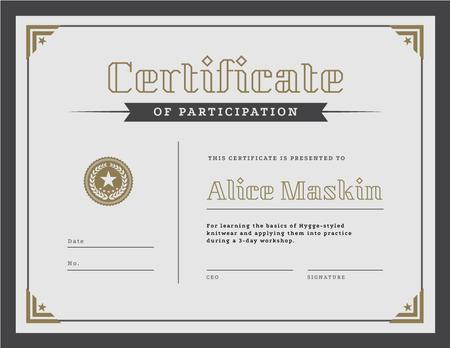 Knitting Workshop Participation confirmation Certificate Design Template