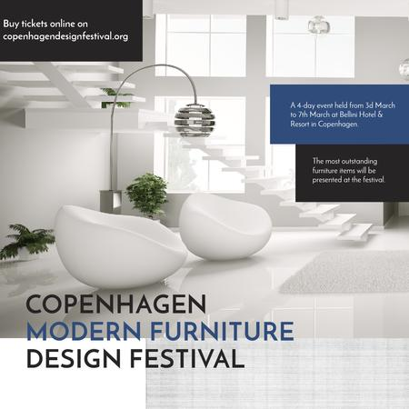 Furniture Festival ad with Stylish modern interior in white Instagram ADデザインテンプレート