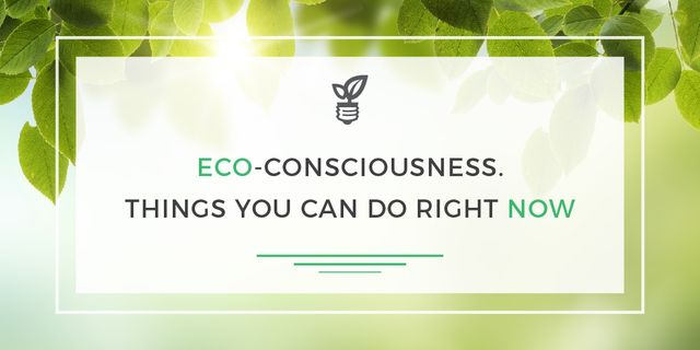 Eco Quote Light Bulb with Leaves Image Design Template