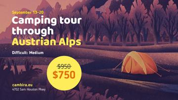 Camping Tour Tents in Valley Illustration | Facebook Event Cover Template