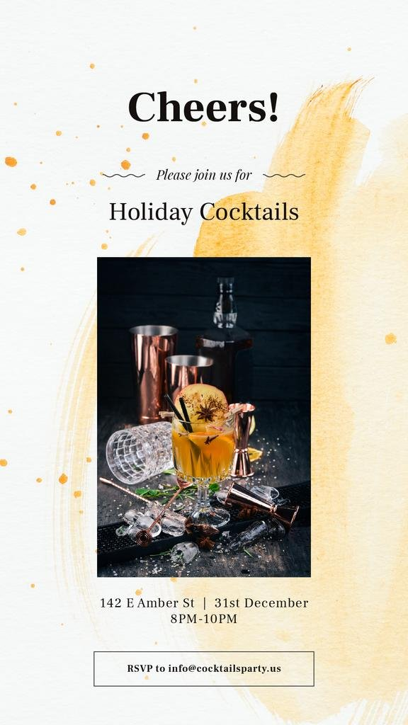 Holiday Coctiails Invitation with White mulled wine — Créer un visuel