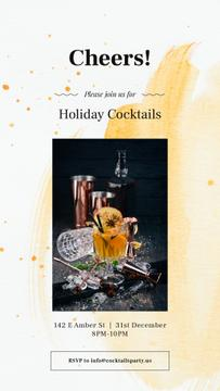 Holiday Coctiails Invitation with White mulled wine