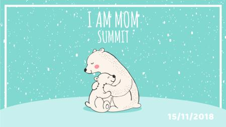 Polar Bear Hugging Its Mother on Blue Full HD video Modelo de Design