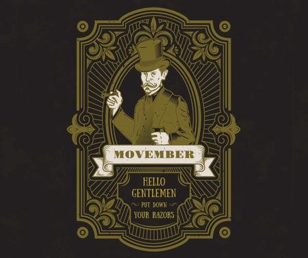 Szablon projektu Man with mustache and beard on Movember Facebook