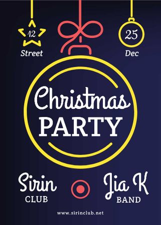 Ontwerpsjabloon van Invitation van Christmas Party Decorative Bauble