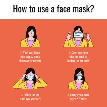 Coronavirus safety rules with Woman wearing Mask