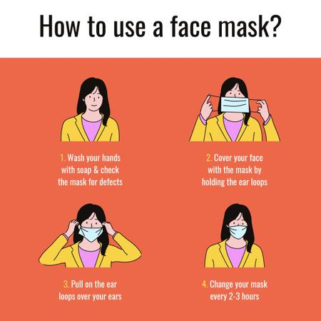 Template di design Coronavirus safety rules with Woman wearing Mask Instagram