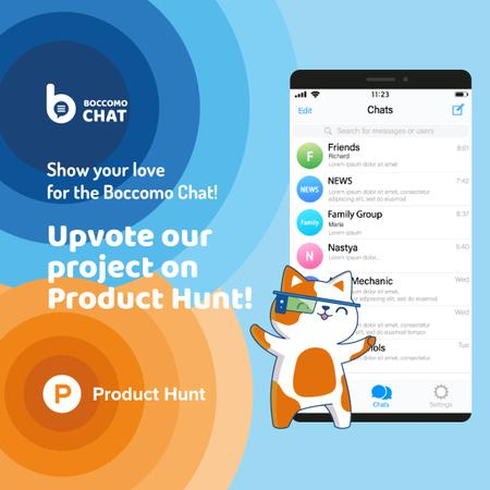 Product Hunt Campaign Chats Page on Screen Instagramデザインテンプレート