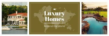 Real Estate Ad Luxury Houses at Sea Coastline | Twitter Header Template