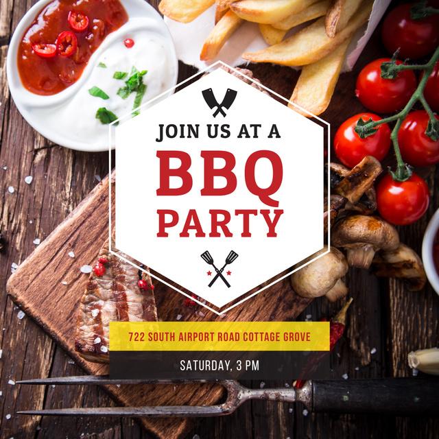 BBQ Party Invitation with Grilled Steak Instagram AD Tasarım Şablonu