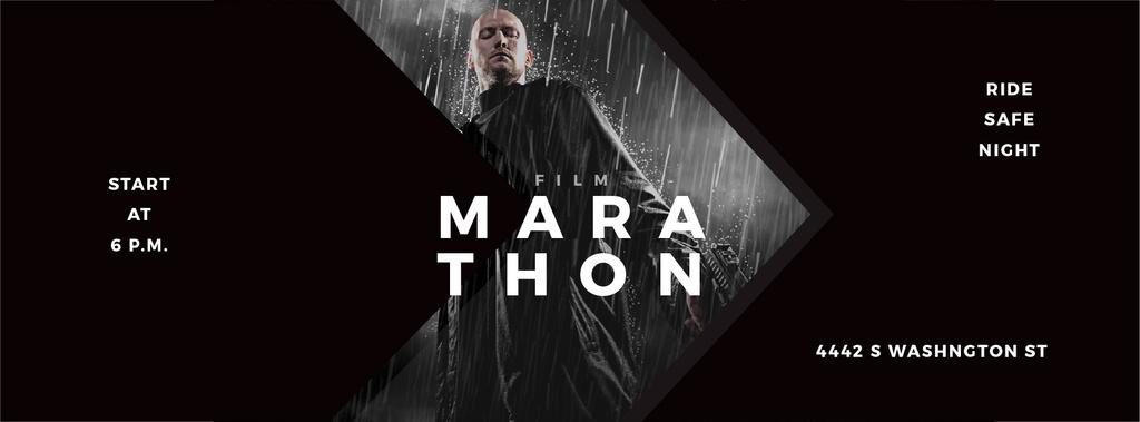 Film Ad with Man with Gun under Rain — Crear un diseño