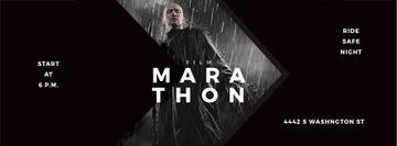 Film Marathon Ad Man with Gun under Rain | Facebook Cover Template