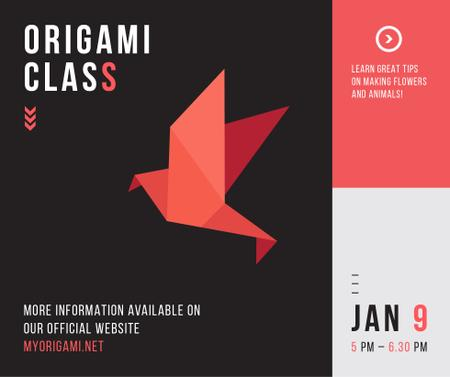 Origami Classes Invitation Paper Bird in Red Facebook Modelo de Design