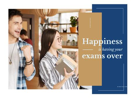 Happy Students Passing Exams Presentation – шаблон для дизайна