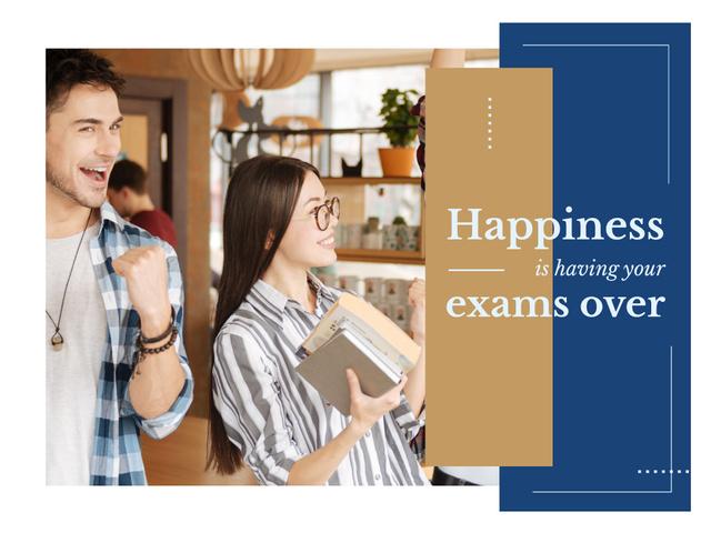 Modèle de visuel Happy Students Passing Exams - Presentation