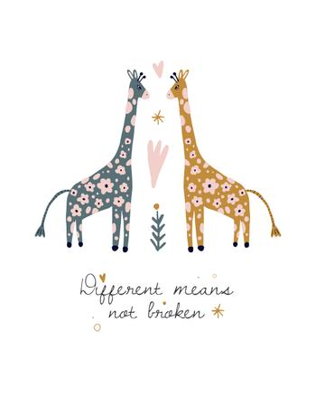 Сute Giraffes in Love T-Shirt Modelo de Design