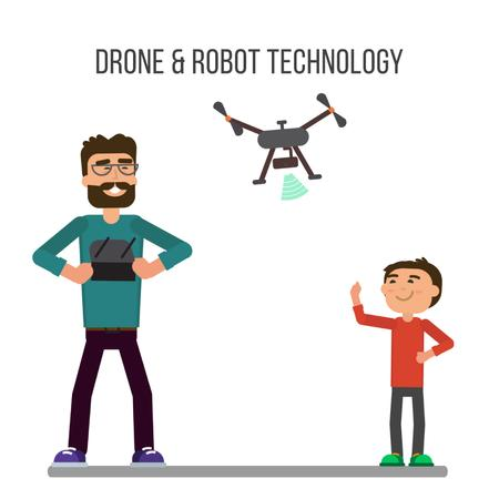 Father and child launching drone Animated Post Modelo de Design