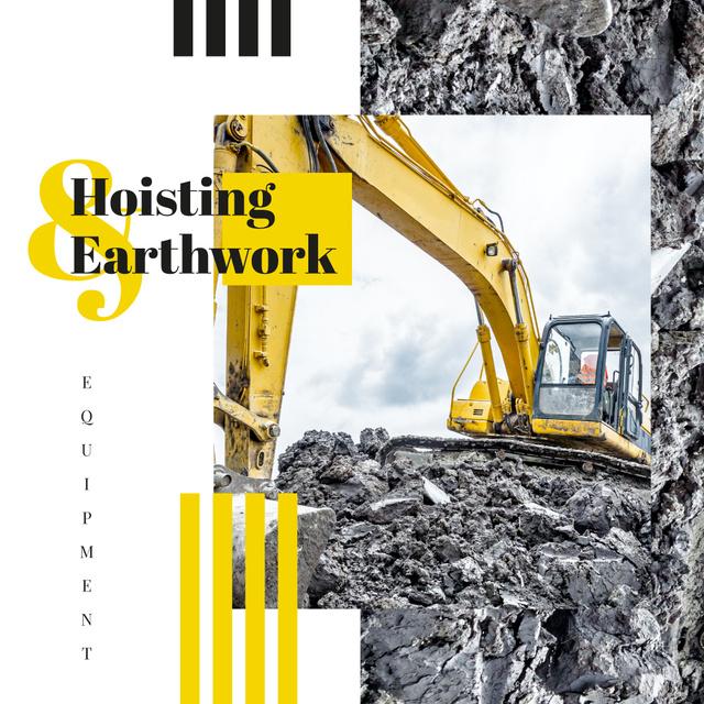 Excavator on construction site Instagram – шаблон для дизайна