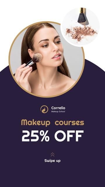 Makeup Courses Annoucement with Woman applying makeup Instagram Story Modelo de Design