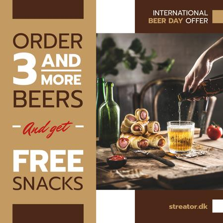 Ontwerpsjabloon van Instagram van Beer Day Offer Glass and Snacks on Table