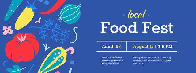 Local Food Fest with Vegetables illustration Ticket Design Template