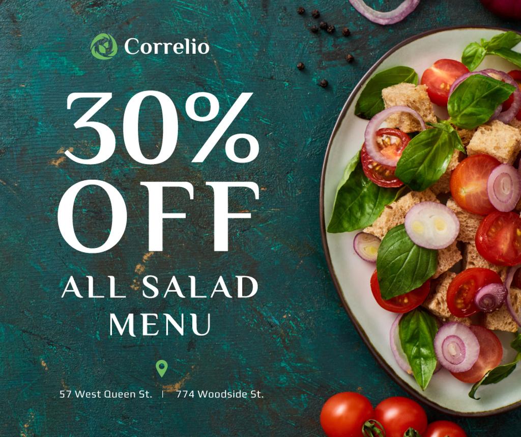 Salad menu offer with fresh vegetables Facebook Tasarım Şablonu