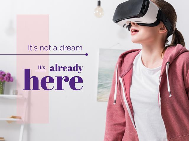 Ontwerpsjabloon van Presentation van Woman in Virtual Reality Glasses