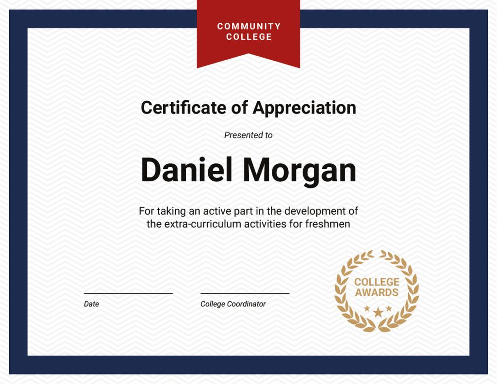 College activities Appreciation in blue and red Certificateデザインテンプレート