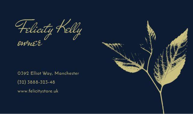 Modèle de visuel Graphic illustration of Leaves on Blue - Business card