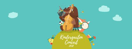 Ontwerpsjabloon van Facebook Video cover van Concert Invitation Animal Music Band