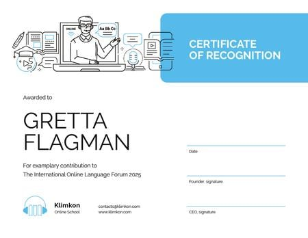 Online Learning Forum participation Recognition Certificate Modelo de Design