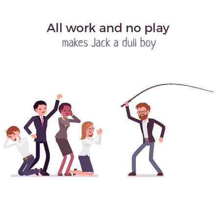 Plantilla de diseño de Aggressive Manager Whipping His Subordinates Animated Post