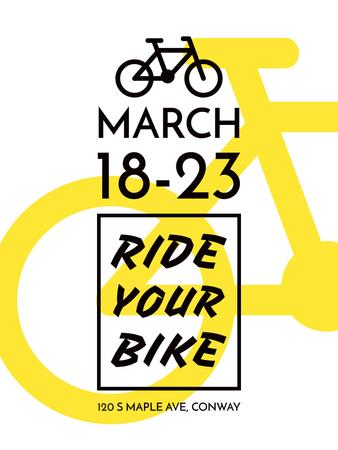 Cycling Event announcement simple Bicycle Icon Poster US Design Template