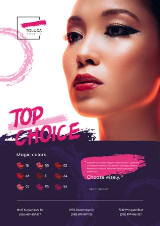 Lipstick Ad with Woman with Red Lips Poster – шаблон для дизайна