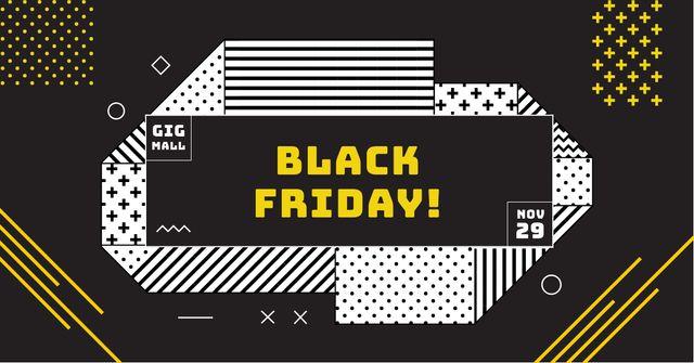 Modèle de visuel Black Friday Offer on geometric pattern - Facebook AD