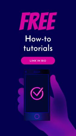 Tutorials blog ad with hand holding Phone Instagram Video Story Modelo de Design
