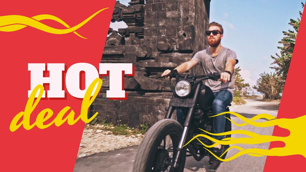 Man Riding Motorcycle on a Road — Crear un diseño