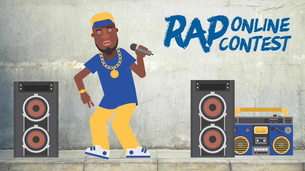 Rap Contest Announcement Man Performing with Microphone — Modelo de projeto