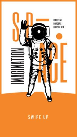 Plantilla de diseño de Space Exhibition Astronaut Sketch in Orange Instagram Story