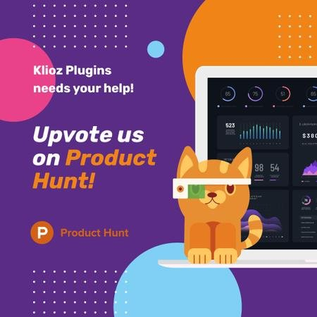 Product Hunt App Stats on Screen Instagram – шаблон для дизайна