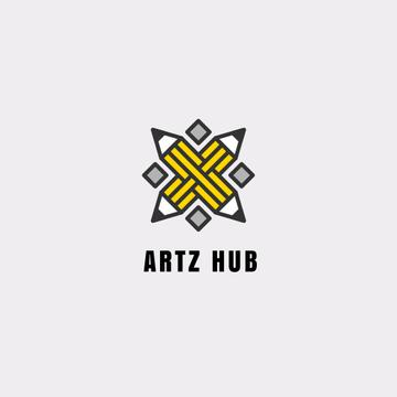 Arts Hub Ad Crossed Pencils in Yellow | Logo Template