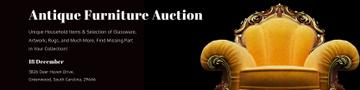 Antique Furniture Auction Ad with Vintage Armchair