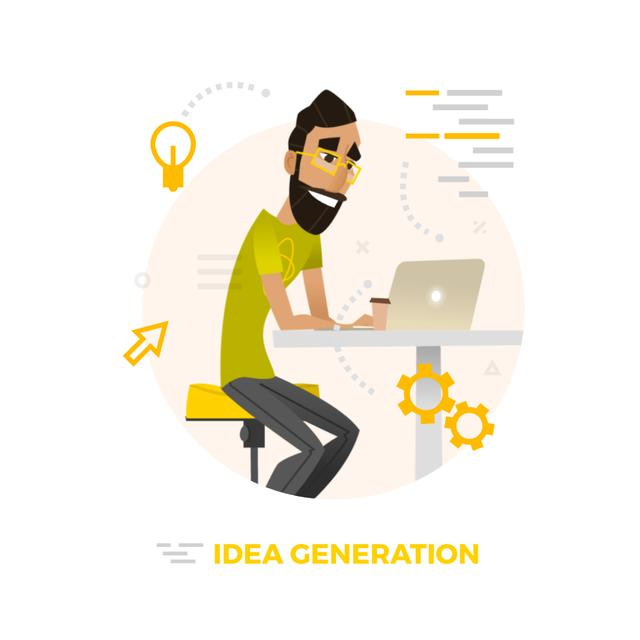 Template di design Hipster man working on laptop Animated Post
