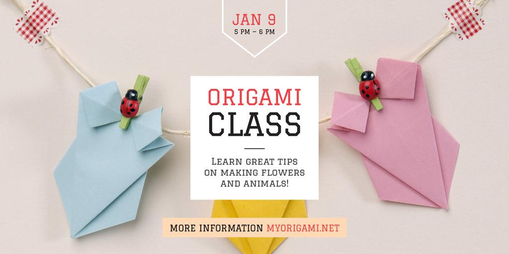 Origami class Invitation Twitter Design Template